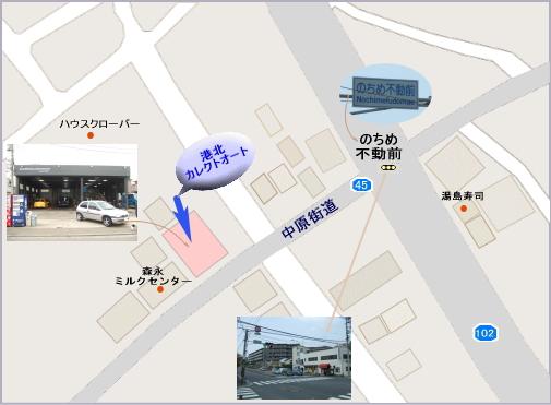 横浜市都筑区・港北カレクトオートのMAP